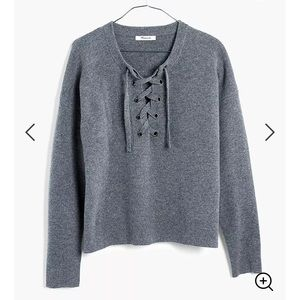 Madewell Grey Lace Up Sweater Merino Wool